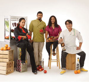 From left to right: DeeDee Niyomkul of Tuk Tuk Thai Food Loft, Gaurav Malhotra of Nectar, Archna Becker of Bhojanic, and Guy Wong of Miso Izakaya