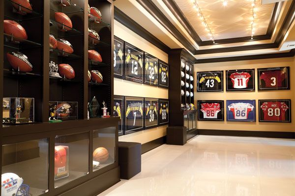 The Terrace Level Is A Treasure Trove For Sports Fans Trophy Room Features Framed Jerseys And Signed Footballs Plus Replica Of Wards Steelers Locker