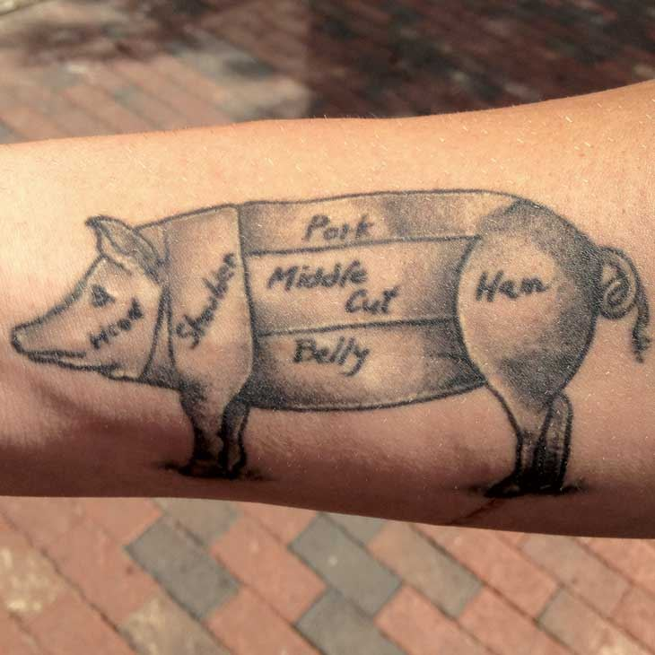 Pig tattoos atlanta magazine for Pig skin for tattooing