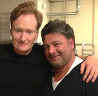 Conan O'Brien and Giovanni Di Palma, shortly after O'Brien served Di Palma's gelato at Antico Pizza