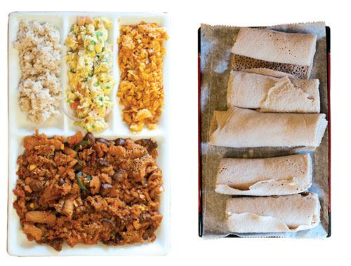 DESTA ETHIOPIAN KITCHEN. Break the fast with kinche, an aromatic bowl of crushed wheat bulgur seasoned with spiced Ethiopian butter, and fitfit—torn injera bread scrambled with onions, peppers, and the fiery-sweet spice mix called berbere. Injera is the vehicle used to scoop food at dinner in lieu of utensils; the restaurant also serves breakfast dishes with spoons. Ethiopian-style coffee certainly wakes you up: It can be almost as strong as espresso. Opens daily at 9 a.m. 3086 Briarcliff Road, 404-929-0011, destaethiopiankitchen.com