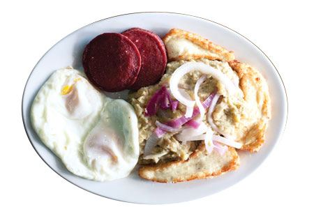 CAFE RESTAURANT DOMINICANO. Few dishes are more splendid in their plainness than mangú, a plate of mashed boiled green bananas typical of the Dominican Republic, adorned with ringlets of pickled red onion. Combine it with a side of fried white cheese, fried eggs, and fried salami (known as a tripleta in the Dominican) or perhaps oxtail stew served on the small cafeteria line of this humble, hospitable restaurant. Opens daily at 10 a.m. 4650 Jimmy Carter Boulevard, Norcross, 770-723-3784