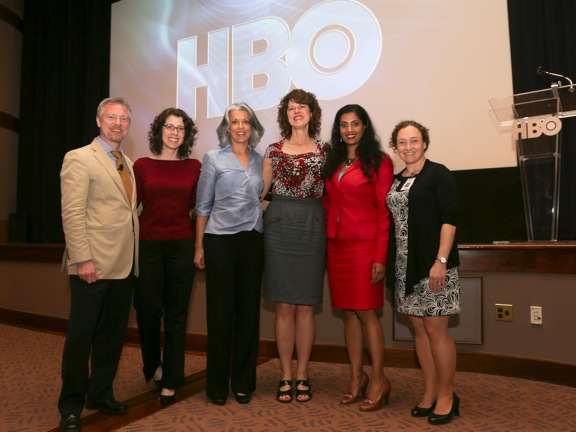 The Carter Center's Dr. Paul Emerson, Emory's Dr. Mari Webel, Dr. Sita Ranchod-Nilsson from Emory's Institute of Developing Nations, HBO's Janet S. Walley, Emory's Dr. Sujatha Reddy, and the Carter Center's Dr. Amy Patterson at the Mary and Martha premiere at the Carter Center on April 16, 2013