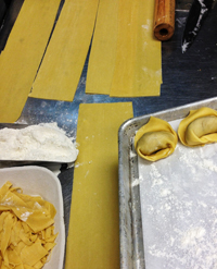 The beginnings of short rib cappellacci