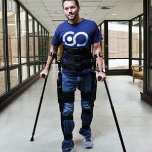 David Carter tests the Indego exoskeleton.