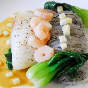 Wild cod with shrimp and coconut sauce