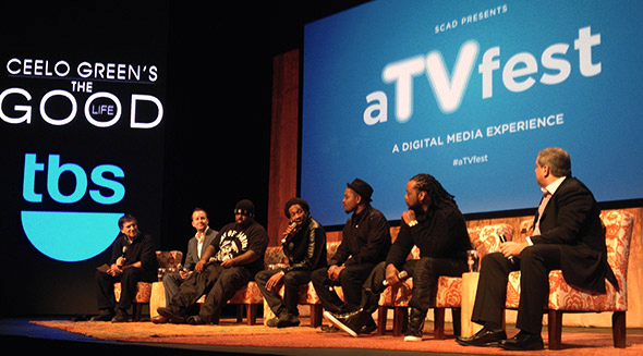 From left: Panel moderator Jefferson Graham, executive producer Andrew Jameson, CeeLo Green, Big Gipp, T-Mo, Khujo, and executive producer Eli Frankel