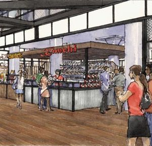 A kiosk rendering for Ponce City Market's Central Food Hall