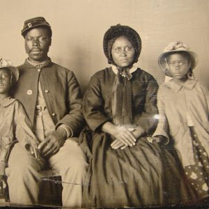 A USCT soldier and his family, circa 1863