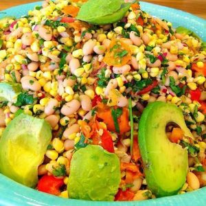 Jeweled white bean and summer corn salad at JuicyJenny's vegan lunch bar