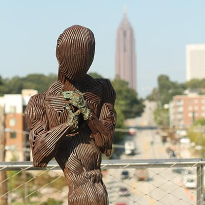 "A trio of figures comprise ""Pathos: Sweet, Lost & Found"" by J. Aaron Alderman, part of Art on the Atlanta BeltLine 2014."