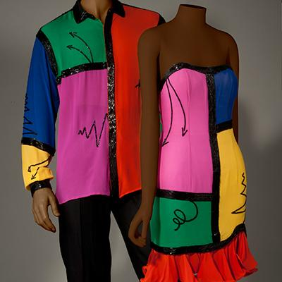 Ebony: Fabrice (United States), Cocktail Dress and Men's Coordinating Dress Shirt, Ready-to-Wear, Spring/Summer 1990: Silk Crepe, Glass Beads: Appeared in Freedom Explosion: Photograph by John Alderson. Copyright of Chicago Historical Society