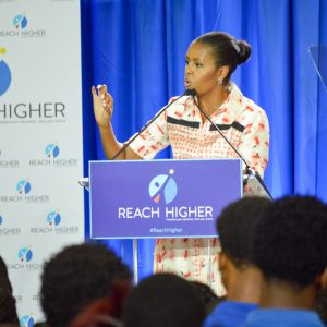 First Lady Michelle Obama addresses students at Booker T. Washington High School in Atlanta.
