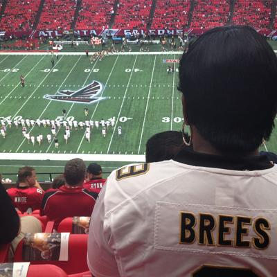 A New Orleans fan at the Falcons-Saints game in the Georgia Dome, September 7, 2014