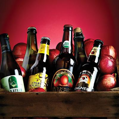 (From left to right) Isastegi Sagardo Basque Cider, $7 at H&F Bottle Shop; Foggy Ridge Sweet Stayman Cider, $16.99; Angry Orchard, $8.99 for a six-pack; J.K.'s Scrumpy, $6.99; Etienne Dupont Cidre Bouché de Normandie, $11.99; Magner's, $9.99 for a six-pack