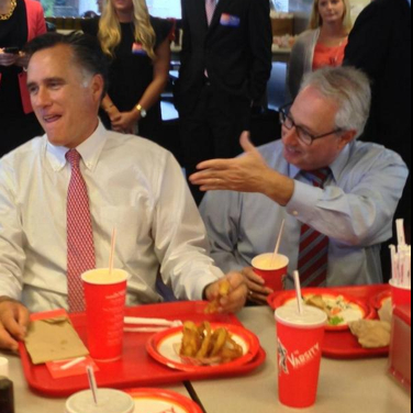 The Olens campaign posted this photo of Mitt Romney and Sam Olens at the Varsity.