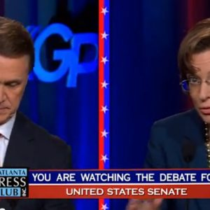 U.S. Senate candidates David Perdue and Michelle Nunn debate in Atlanta, October 26, 2014.