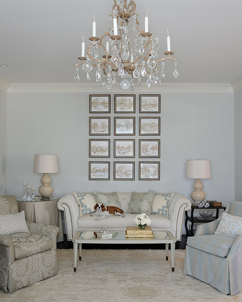 """The more delicate living room, which is Catie's """"girly"""" domain."""