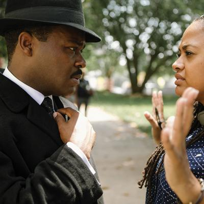 DuVernay (left) on the set of Selma