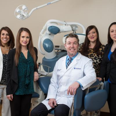 From left: Erin Fleming; Kristin Cleghorn; Ken Anderson, MD, ABFPRS, ABOTO; Courtney Pantelis; Sara Kovac