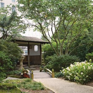 The tea house at the Hyatt's Zen Garden