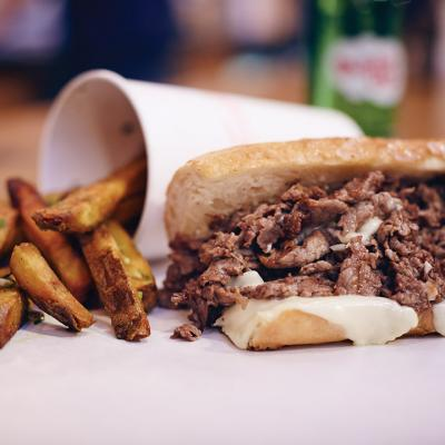 The 10-ounce cheesesteak ($15)
