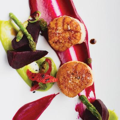 Seared scallops with beets, asparagus, and blood orange