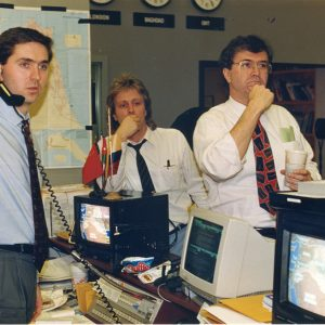 Johnson, right, at CNN during the war.