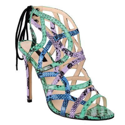 Snake-effect sandals, $110