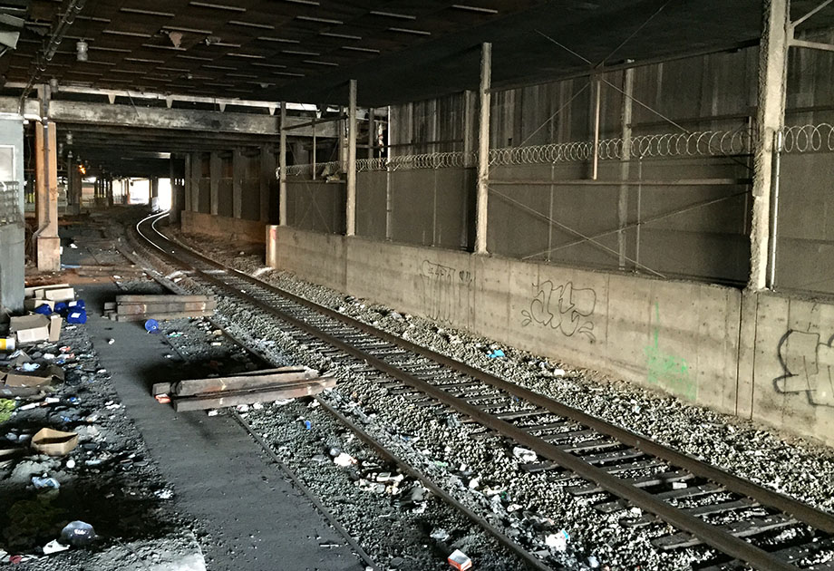 Active freight rails parallel the MARTA East/West line under downtown. One day, this line could take commuters to Athens.