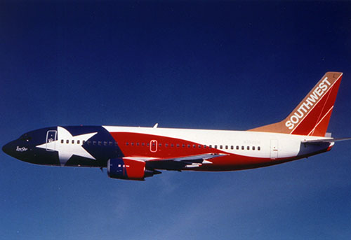 Lone Star One, a Southwest Airlines 737 painted in special livery.