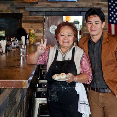 Sweet Auburn Barbecue's Howard Hsu and his mom, Betty Hsu