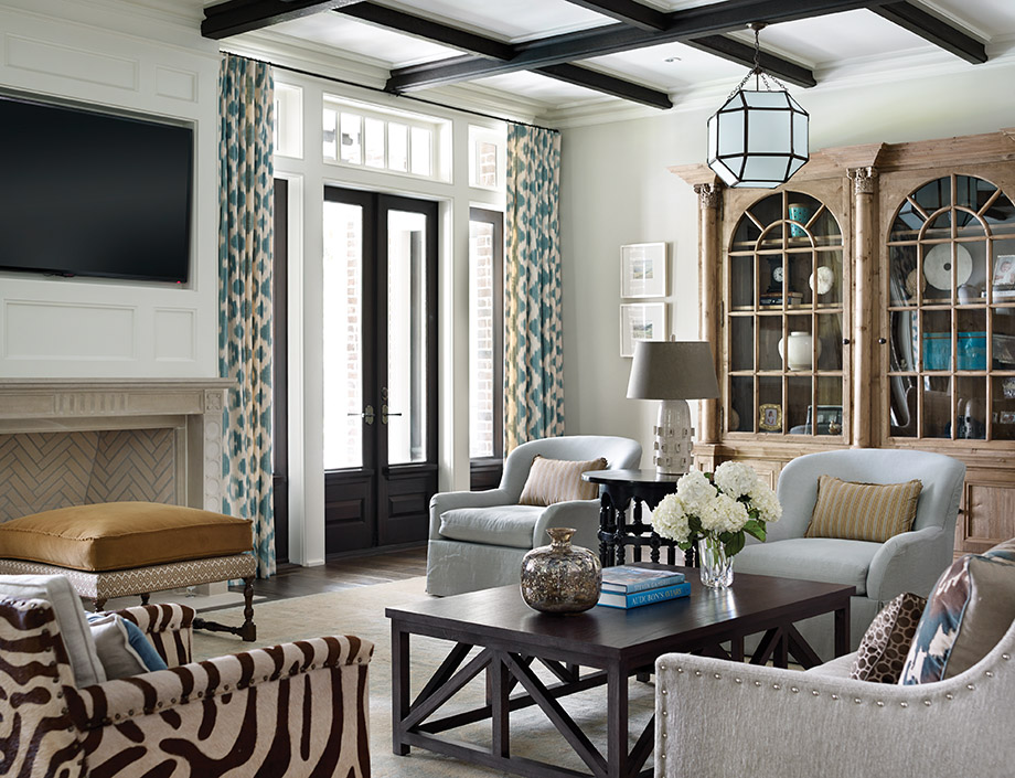 The homeowner picked an Oushak rug that inspired the main floor's soft color palette.