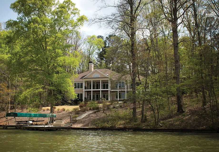 The Dermond house as seen from Lake Oconee.