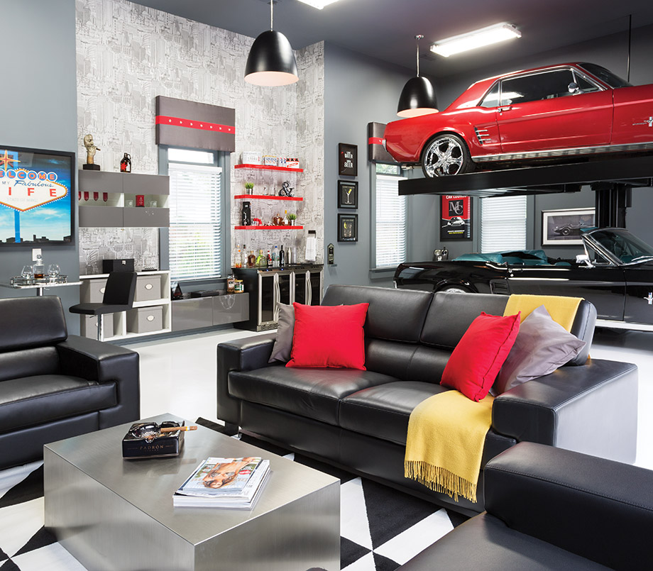Room envy a briarcliff garage becomes an upscale man cave