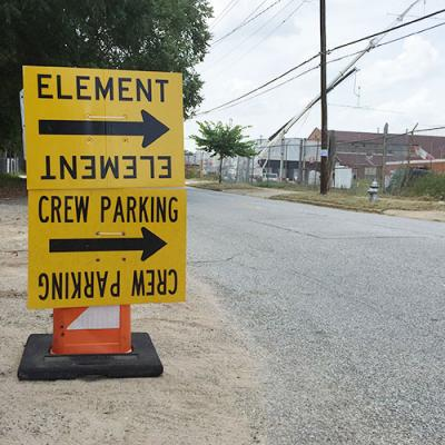 An Allegiant: Part I production sign points cast and crew to Pullman Yard for filming.