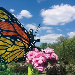 A LEGO butterfly sculpture at the Atlanta Botanical Gardens in Gainesville.