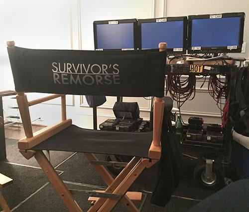 On set at the Survivor's Remorse video village