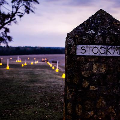 Luminaries at the prison stockade during a practice event