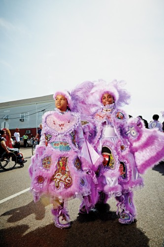 """Mardi Gras Indians, dressed in elaborate suits honoring the Native Americans who once helped slaves escape to freedom, march on the Sunday closest to St. Joseph's Day, known as """"Super Sunday."""""""