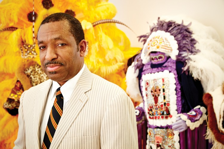 Harrison grew up in the Mardi Gras Indian tradition.