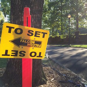 A production sign points the way to Mother's Day's set in Piedmont Park