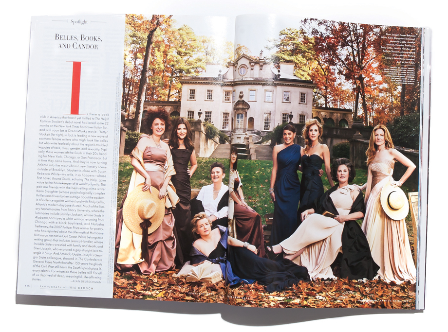 Arrayed for the day As pictured in Vanity Fair's February 2011 issue, from left to right: Sheri Joseph, Susan Rebecca White, Karin Slaughter (reclining), Amanda Gable, Joshilyn Jackson, Natasha Trethewey, Emily Giffin, Jessica Handler, and Kathryn Stockett.