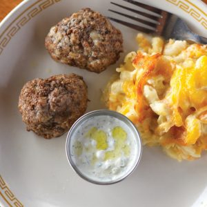 Greek meatballs, tzatziki sauce, and macaroni and cheese from Johnny's.