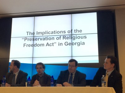 Georgia Equality Executive Director Jeff Graham (from left), Emory University law professor Sasha Volokh, state Sen. Josh McKoon, and state Rep. Taylor Bennett discuss RFRA on January 6, 2016.
