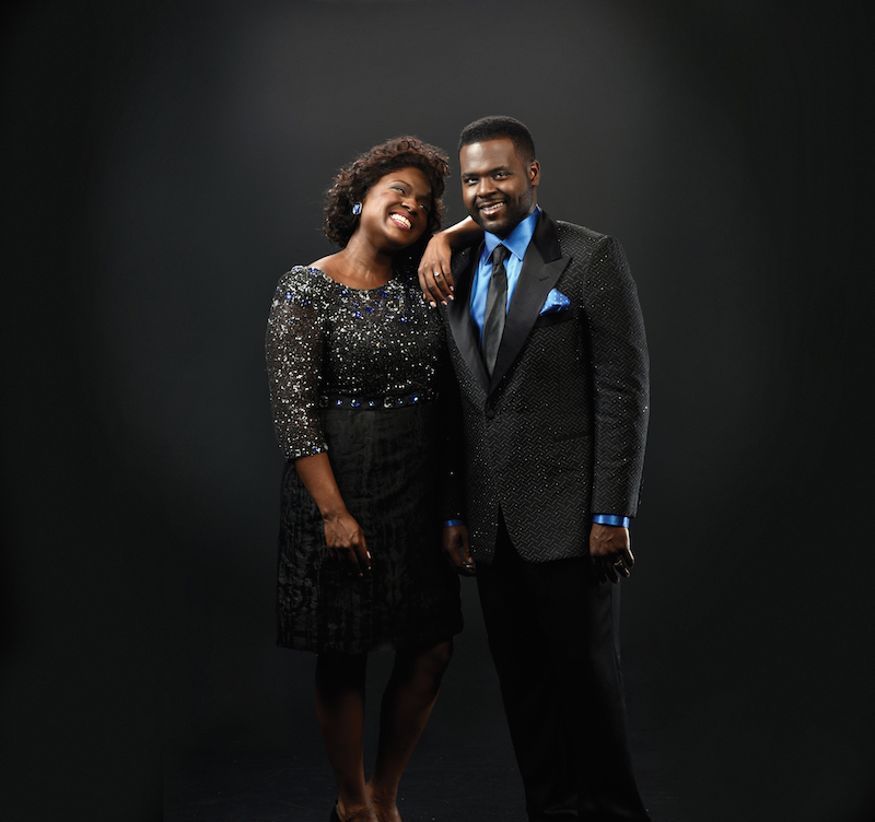 """Deborah Joy and her brother Juan Winans play their aunt and uncle, CeCe and BeBe Winans, in """"Born For This"""" at the Alliance Theatre"""