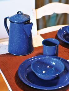 Vintage tableware adds charm to the Roost.