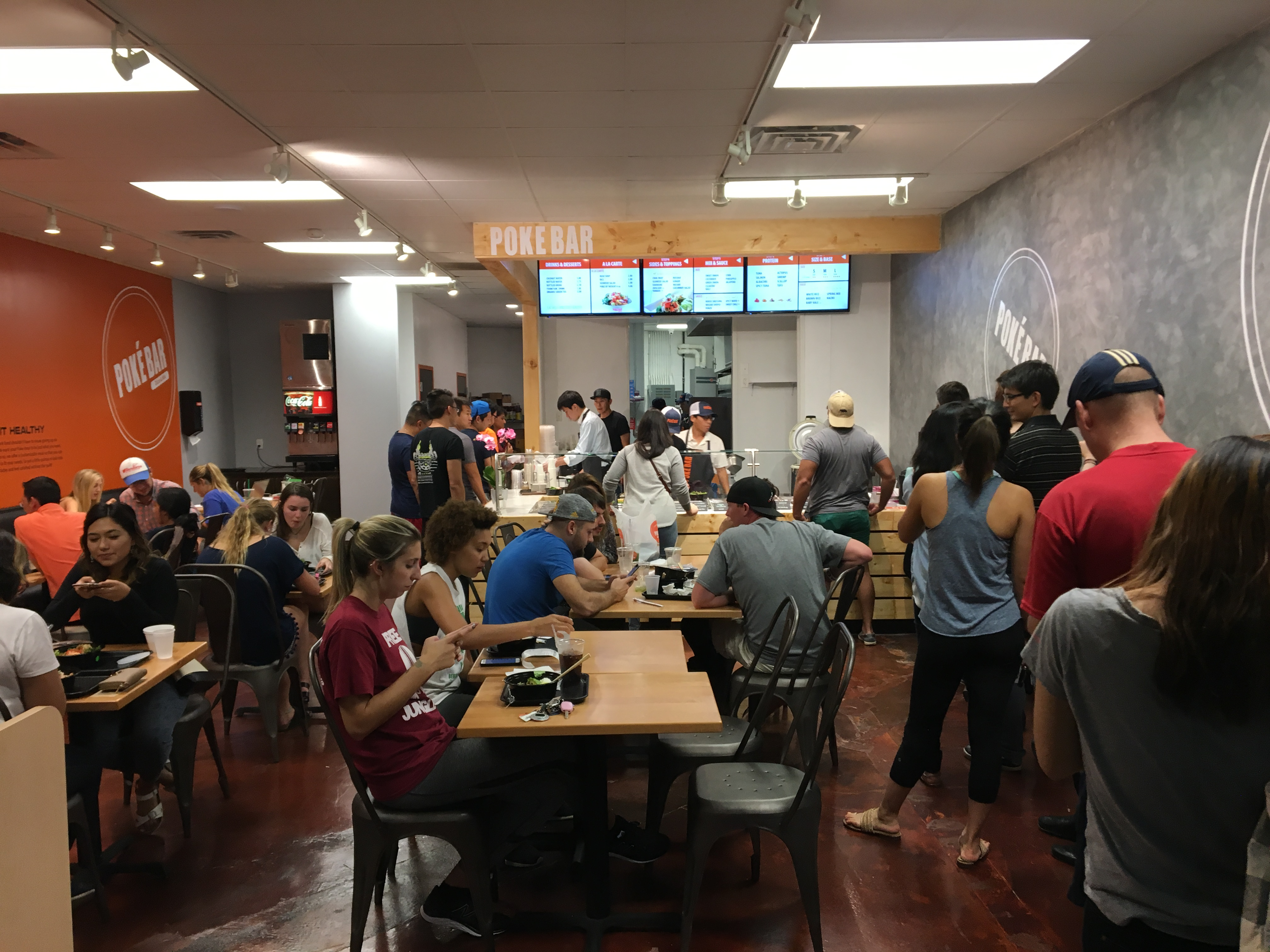 The scene at Poke Bar on the Wednesday after opening.