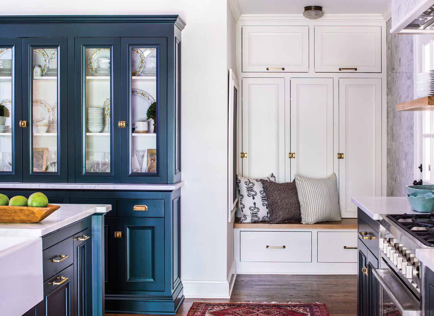 The color palette was inspired by Monica's great-grandmother's china, which she displays in a custom cabinet, at left.