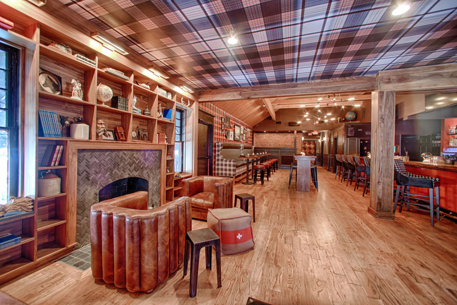 You Can Drink Cocktails Under A Plaid Ceiling At Foxtrot